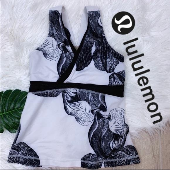lululemon athletica Tops - {Lululemon} Black&White Mesh Back Tank *2186